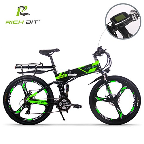 RICH BIT Eléctricas RT860 E-Bike 12.8Ah Batería de litio 36V 250W Motor sin escobillas Shimano 21-velocidad plegable bicicleta de montaña...