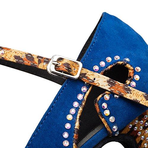Minitoo–th179Closed Toe Fashion in pelle scamosciata matrimonio ballo Latina taogo Dance pompe scarpe Blue