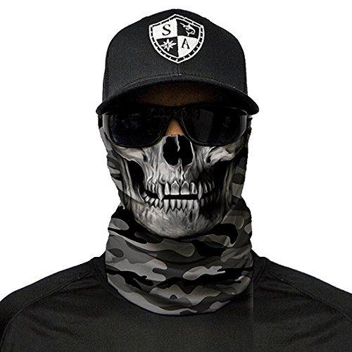 SA Fishing Face Shields ** 40+ Designs verfügbar ** Qualitäts Bandana / Multifunktionstuch / Schlauchtuch / Halstuch aus Stoff & SPF 40 - Face Masks von SA Company, Grey Military Camo Skull
