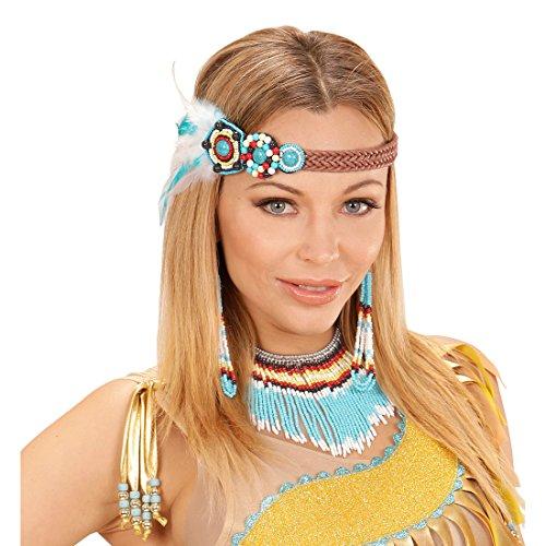 Amakando Indianer Ethno Schmuck mit Haarband, Ohrringe und Kette Indianerschmuck türkis Indianische Kostümaccessoires Kostümzubehör Damen Indianerin Kostüm Set (Indianer Kostüm Schmuck Ohrringe)