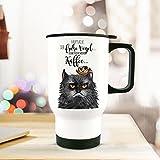 ilka parey wandtattoo-welt® Thermobecher Thermotasse Thermosflasche Becher Tasse Kaffeebecher grimmige Katze GRUMPY mit Spruch der frühe Vogel...tb067