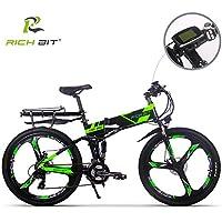 RICH BIT Eléctricas RT860 E-Bike 12.8Ah Batería de litio 36V 250W Motor sin escobillas Shimano 21-velocidad plegable bicicleta de montaña 26 pulgadas freno de disco inteligente bicicleta eléctrica