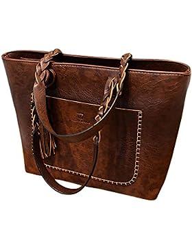 Handtasche Damen, Sunday Leder Quasten Vorbereitung Handtasche Schulter Messenger Bag Damen Satchel Tote Bags...