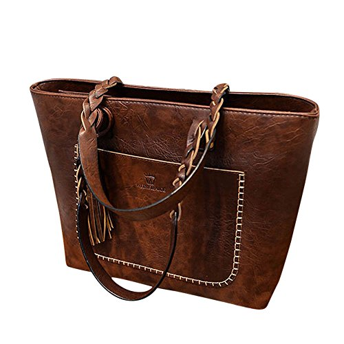 Handtasche Damen, Sunday Leder Quasten Vorbereitung Handtasche Schulter Messenger Bag Damen Satchel Tote Bags Solide Outdoor (Dunkelbraun) (Italienische Leder-schlüssel-etui)