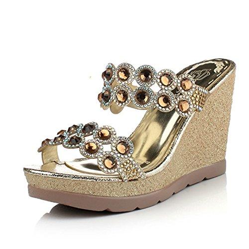 Glitter gold coins sandales à plateforme/Les souliers C