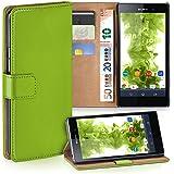 OneFlow Tasche für Sony Xperia Z1 Hülle Cover mit Kartenfächern | Flip Case Etui Handyhülle zum Aufklappen | Handytasche Schutzhülle Zubehör Handy Schutz Bumper in Hellgrün