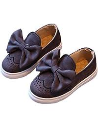Minetom Chica Casual Adorable Color Sólido Arco Lona Zapatos Moda Bebé Niña Suave Y Cómodo Princesa Plana Calzado Mocasín