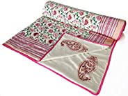 BLOCKS OF INDIA Cotton Malmal Hand Block Printed Summer Single Size Reversible Dohar- (Pink Red)