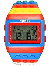 Reloj de pulsera de multifuncion de color - SHHORS Reloj de pulsera de nino LED impermeable de multifuncion de arco iris Reloj de deportes de natacion Reloj de pulsera digital (Estilo 2)