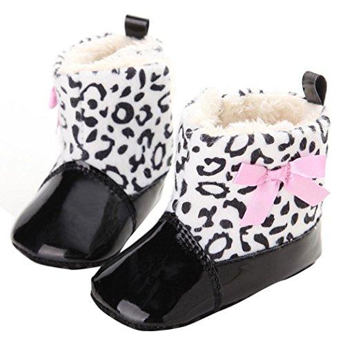 Clode® Bébé Tout Infant Bottes de neige molle Sole Prewalker Crib Shoes (0~6 Mois, Noir) Noir