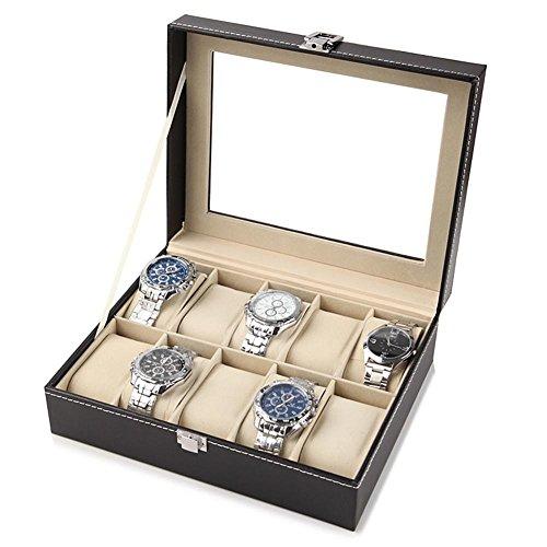 Yotown 10 Uhren Uhrenkasten Uhrenbox, Herren Watch Storage Display Box Luxus-Uhrengehäuse mit zarten Mustern Gentle Faux Leder Inside Storage Schmuck Organizer (Luxus-uhren-box)