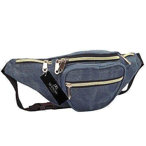 Leinen Reise Gürteltasche 5 TASCHEN Up To 127cm Taille Bum Geldbeutel Tasche Gürteltaschen QL415M - Lila Türkisch Gemustert, Bumbag Marineblau Jeans