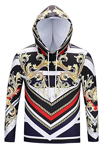 Pizoff Unisex Hip Hop luxus golden Sweatshirt Kapuzenpullover mit Bunt 3D palace still Digital (Kostüm Moderne Geist)