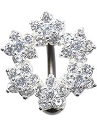 PIERCINGLINE® piercing nombril titane argent 925 COURONNE DE FLEURS