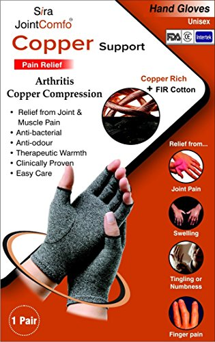 Copper Compression Hand Gloves,Relief Arthritis,Rheumatoid, Sports & Joint Pain. Pair Size S, M, L, XL (M)
