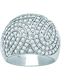 Lolls 4.06 CT Round Cut Cubic Zirconia Dome Ring In 14K White Gold Over 925 Sterling Silver [Lolls_AMR253_W]