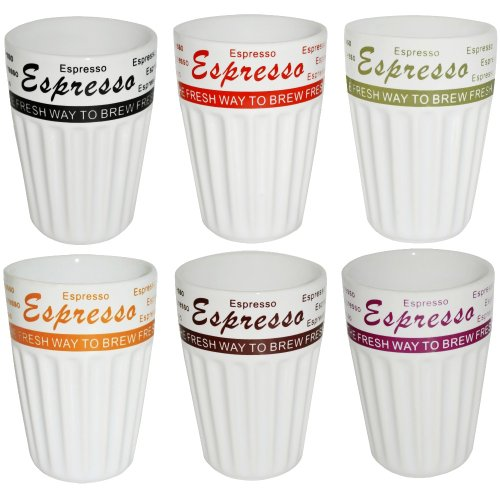 Lot 6 Tasses à Café Expresso Vintage USA Gourmand Design Emaillé