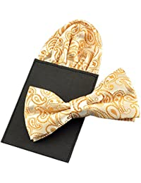 PenSee Mens Silk Solid Pre-Tied Bow Tie & Hanky Card Set - Various Colors