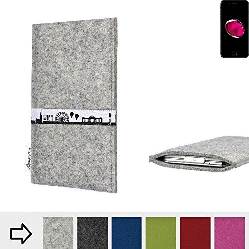 flat.design Filztasche SKYLINE mit Webband Wien für Apple iPhone 7 Plus - Maßanfertigung der Filz schutzhülle aus 100% Wollfilz (hellgrau) - Case Hülle im Slim fit Design für Apple iPhone 7 Plus hellgrau