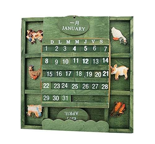 DIY Kreative Holz Desktop-Kalender Bilingual-Kalender [Pastoral Style] (Desktop-kalender 2015)