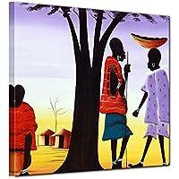 """Bilderdepot24 Cuadros en Lienzo """"Diseño de África II"""" 100x100 cm - listo tensa, directamente desde el fabricante"""