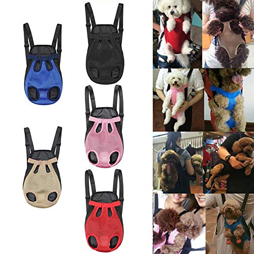 osmanthusFrag Verstellbarer Carrier Rucksack Front Cat Dog Legs Tail Out Chest Travel Bag-Red S -