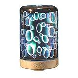 Izzya JS0213 3D 7 Farbwechsel Schreibtischlampe 100Ml Luftbefeuchter Glasabdeckung 7 Farbwechsel Nachtlicht Ätherisches Öl Ultraschall Aromazerstäuber Wasserlose Automatische Abschaltung