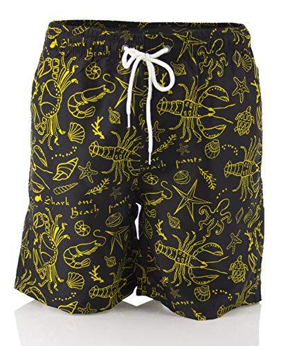 Poligono Kurze Shorts für Männer, Badeanzug, Shorts mit Taschen, Shorts mit Tunnelzug, schnell trocknend, Polyester-Boxershorts, von Bath, Beach, Sea, Surf, Swimming, Printed Fantasy