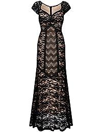 Miusol® Damen Eleanges Kleid V-Ausschnitt Lace Blume Spitzen Stitching Maxi Cocktailkleid Langes Abendkleid Schwarz Gr.S-XXL