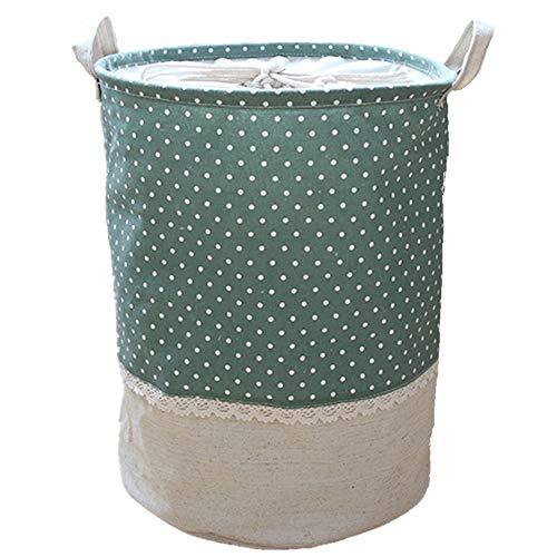 Hyde cesto portaoggetti pieghevole con manici, cesto portabiancheria rotondo, a prova di umidità antipolvere botti impermeabile in cotone(10 colori, 35×45cm)(stile2 - verde)