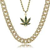 L & L Nation da Uomo Placcato Oro 14K Green Marijuana Ciondolo Hip Hop 61cm Corda & 76,2cm CZ Cubano Catena