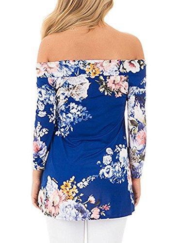 Junshan Femme Chemisier Col V Floral Cross v Col Épaule Imprimé T-Shirt Cross Criss T-Shirts Tops Blouse Tunique Blouse Haut Bleu