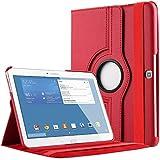 """Bingsale - Funda para Samsung Galaxy Tab 4 de 10.1"""" (con soporte, gira 360°), color rojo"""