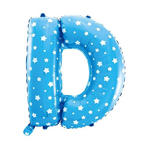 Cotigo-Globo Letra Foil Color Azul con Estrellas para Fiestas de Cumpleaños 40cm (D)