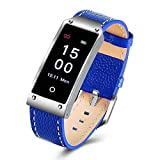 C-Xka Smart Armband, PU-Leder-Farbdisplay Smart Watch mit Herzfrequenz/Blutdruck, Schlafmonitor Kalorien Schrittzähler, Anruf- / SMS-Erinnerung für iOS und Android (Farbe : Blau)