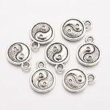 nbeads 1000g tibétain Style Antique Argent Alliage de Zinc Yin Yang Charms-Pandora, Troll, Biagi et Bracelet européen Compatible, 13x 10x 2.5mm, Trou: 2mm; Environ 1266pcs/1000g