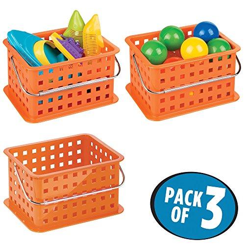 mDesign Caja organizadora perfecta como caja almacenaje para juguetes - También ideal como caja para guardar ropa - Pack de 3 con medidas de 23,5 cm x 17,8 cm x 12,7 cm en color naranja