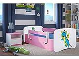 LIT ENFANT DRAGON 70 CM x 140 CM AVEC BARRIERE DE SECURITE + SOMMIER + TIROIRS + MATELAS OFFERT ! – ROSE