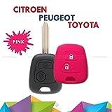 Coque coloré en silicone souple pour clé à 2boutons pour voiture Toyota Aygo, en 10couleurs fuchsia