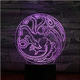 3D Illusion Light Casa Targaryen Dragon Led Luz Nocturna Usb Touch Sensor Rgb Niño Regalo De Los Niños Luces Decorativas Juego De Tronos Lámpara De Mesa Dormitorio