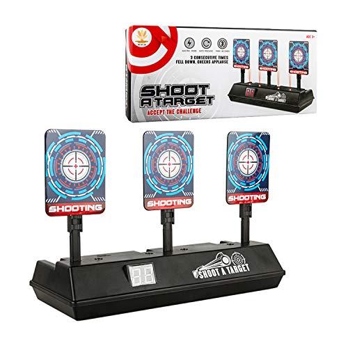 Objetivo para Nerf,Auto Reset Shooting Target Electrónico Scoring de Disparo Objetivo Reinicio Automático con Pantalla LCD Efecto de Sonido para Nerf Juguete Pistolas N-Strike Elite/ Mega/Rival Serie