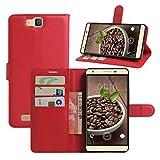 HualuBro Cubot H2 Hülle, [All Aro& Schutz] Premium PU Leder Leather Wallet HandyHülle Tasche Schutzhülle Case Flip Cover mit Karten Slot für Cubot H2 5.5 Inch Smartphone (Rot)