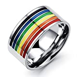 Dragonface Klassischer Regenbogen Ring Lesben Homosexuell Pride-Ring-Edelstahl Frauen Männer Schmuck Geschenke Schmuck 1 PC (Größe 8)