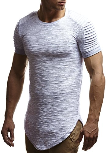 fdef3b9e71a5fe LEIF NELSON Herren oversize T-Shirt Hoodie Biker-Style Rundhals Ausschnitt  Kurzarm Longsleeve Top