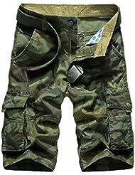 Elonglin Homme Militaire Cargo Shorts Vintage Bermudas Pantacourt Camo 100% Coton Multi Poches SANS CEINTURE
