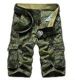 WSLCN Herren Camouflage Cargo Shorts Kurze Hosen Grün Camouflage W34 (Taille 86cm)