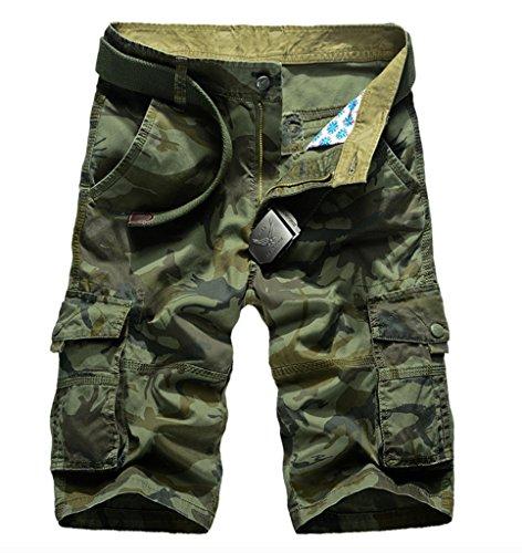 WSLCN Herren Camouflage Cargo Shorts Kurze Hosen Grün Camouflage W36 (Taille 91cm)