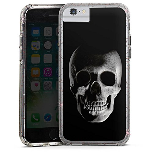 Apple iPhone X Bumper Hülle Bumper Case Glitzer Hülle Skull Schädel Piraten Bumper Case Glitzer rose gold