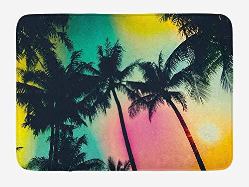 (ZKHTO Palm Tree Bath Mat, Retro Style Unusual Silhouette of Tree Leaf in Blurry Vibrant Tones Graphic Art, Plush Bathroom Decor Mat with Non Slip Backing, 23.6 W X 15.7 W Inches, Multicolor)