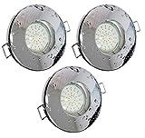 Trango® 3er Set IP44 Einbaustrahler für Bad / Dusche / Sauna inkl. 3x GU10 3,0 Watt LED Leuchtmittel 3000K warm-weiß (Chrom TG6729IP-038B)